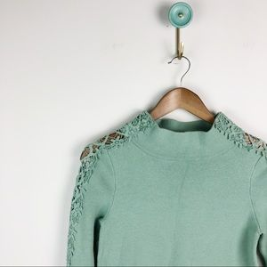 Anthro Knitted Knotted Lace Funnel Neck Sweater